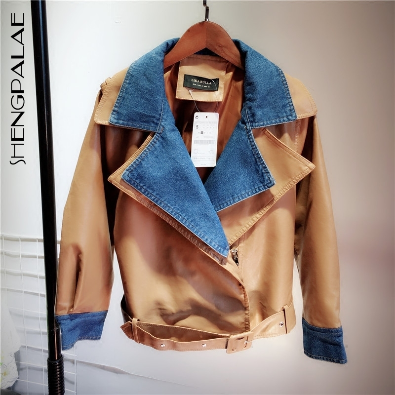 SHENGPALAE 3 Colors Split Joint False Two Paper Clothing Woman Pu Leather Jacket Short Fund Loose Coat Autumn FS192