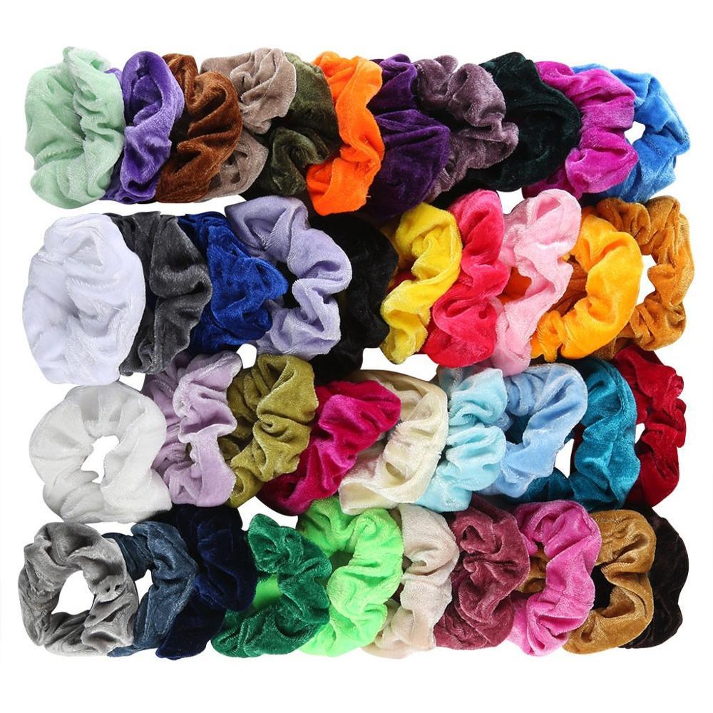 20 Colors Vintage Hair Scrunchies Stretchy Velvet Scrunchie Pack Women Elastic Hair Bands Girl Headwear Plain Rubber Hair Ties