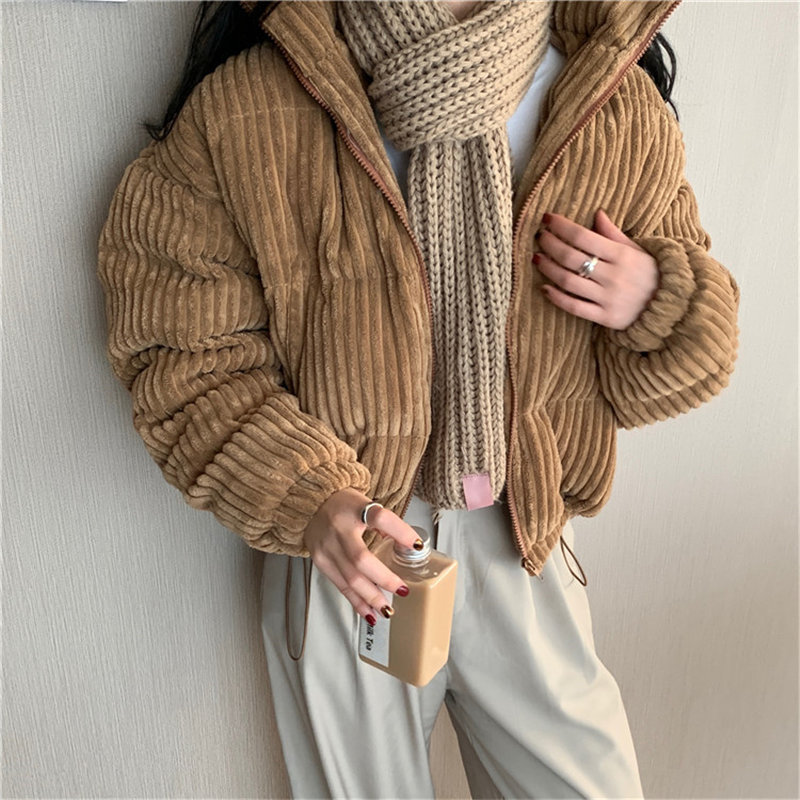 Alien Kitty Cute Casual Corduroy All-Match Sweet Women Warm Fashion Female Leisure Outwear Loose Thicken Oversize Short Coat