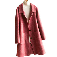 2019 new high end doll collar double faced cashmere coat female medium long Hepburn Single breasted windbreaker 100% wool coats