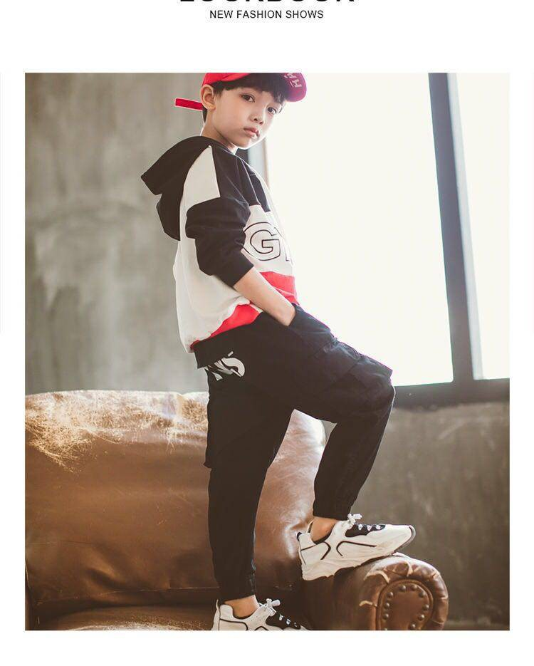 Boys pants Spring and Autumn overalls trend letters autumn 4 6 8 12 14 years old kids pants casual kids clothes