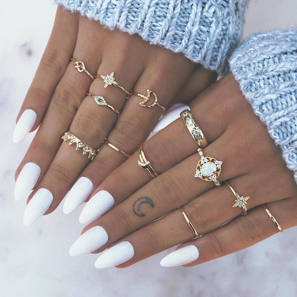 13 pçs/sets cor de prata do vintage coração anel comum para as mulheres charme lua folha asa geométrica anel de casamento jóias