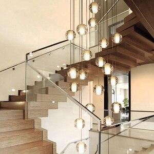 Image 2 - Youlaike יוקרה מודרני נברשת תאורה גדול מדרגות LED קריסטל אור גופי מלוטש פלדת תליית זוהר Cristal