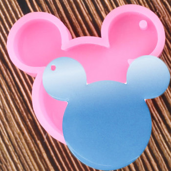 Shiny Mouse Head Shape keychains Silicone Mold DIY Jewelry Making Glitter Epoxy Resin Mould Key Chain Pendant Polymer Clay Molds