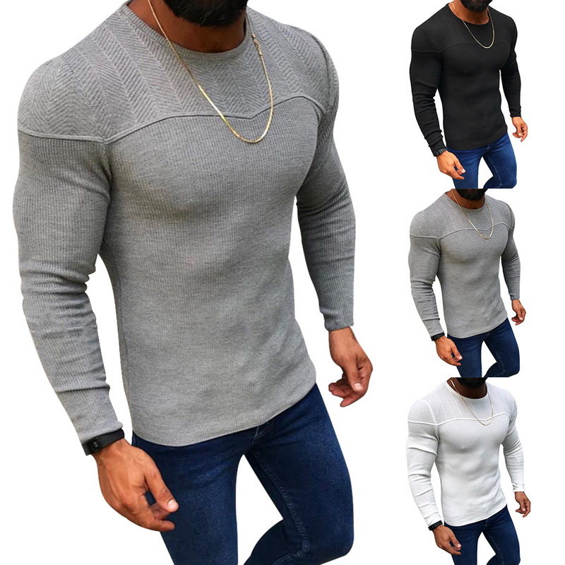 MJARTORIA Sweaters Pullover Slim-Fit Knitted Neck Autumn Winter Men's Casual New-Fashion