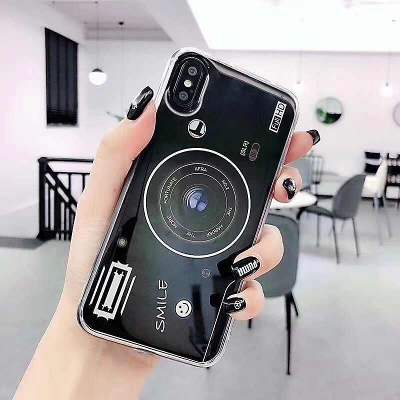 Vintage Camera Soft Silicone TPU Cover voor OPPO A5S/A7/A9/F11/F11 Pro/R19 /Reno/Reno X 10/Realme X/C2/Realme 3 Pro/K3/A1K