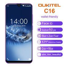 هاتف ذكي OUKITEL C16 بشاشة 5.71 بوصة عالية الوضوح + 19:9 مع خاصية قطرة الماء وبصمة الإصبع يعمل بنظام الأندرويد 9.0 وذاكرة وصول عشوائي 2 جيجا وذاكرة قراءة فقط 16 جيجا وذاكرة قراءة فقط 2600mAh مع خاصية فتح القفل