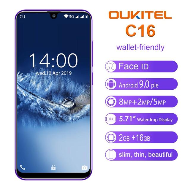 "OUKITEL C16 5.71"" HD+ 19:9 WaterDrop Smartphone Fingerprint Android 9.0 Mobile Phone MT6580P 2G RAM 16G ROM 2600mAh Unlock"