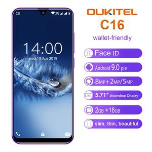 "Image 1 - OUKITEL C16 5,71 ""HD + 19:9 de agua inteligente huellas digitales Android 9,0 teléfono móvil MT6580P 2G RAM 16G ROM 2600mAh desbloquear"