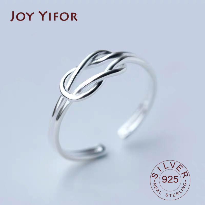 Real 925 Sterling Silver Minimalist Geometric Knot Hollow Ring For Charming Women Party Fine Jewelry Trendy Accessories Gift