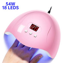 54W 18LEDS UV Nail Lamp For Manicure UV LED Nail Dryer USB Cable Portable Lamp For Drying Gel Polish Nails Art Manicure Tools