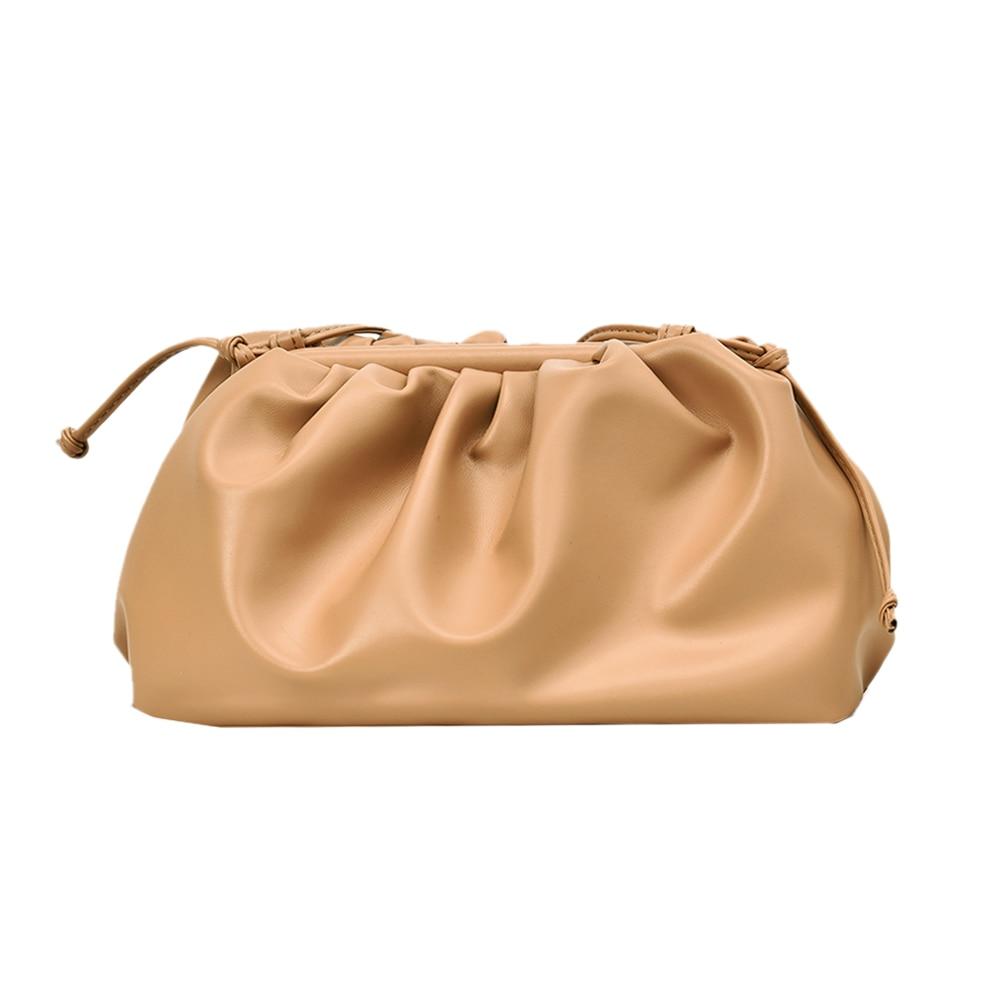 Moda skóra chmura torba miękkie pomarszczone pierogi na ramię Messenger luksusowe torebki damskie projektant Ins Hot Crossbody sprzęgła