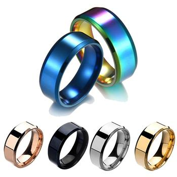 Fashion Simple Unisex Lovers Stainless Steel Mirror Finger Rings Jewelry Gifts For Men Women image