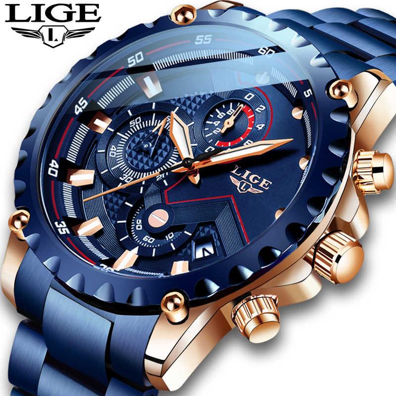 새로운 2020 LIGE 패션 블루 스테인레스 스틸 남성 시계 브랜드 럭셔리 방수 쿼츠 시계 남자 날짜 다이얼 스포츠 크로노 그래프