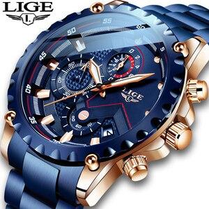Image 5 - Neue 2020 LIGE Mode Blau Edelstahl Herren Uhren Top Brand Luxus Wasserdichte Quarzuhr Männer Datum Zifferblatt Sport Chronograph