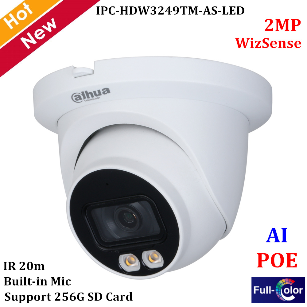 Dahua Full-color Series Network Camera IPC-HDW3249TM-AS-LED 2MP Lite AI Warm LED Cam Built-in Mic Support 256G SD Card 12V DC image