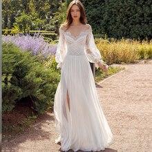 Wedding-Dress Bridal-Gown Civil-Split Bohemian Robe-De-Mariee Long-Sleeve Chiffon Elegant