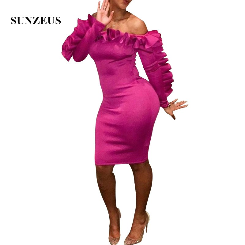 Sheath Knee Length Off Shoulder   Cocktail     Dresses   With Long Sleeves Beautiful Ruffles Party Gowns Fuchsia Vestido Coctail