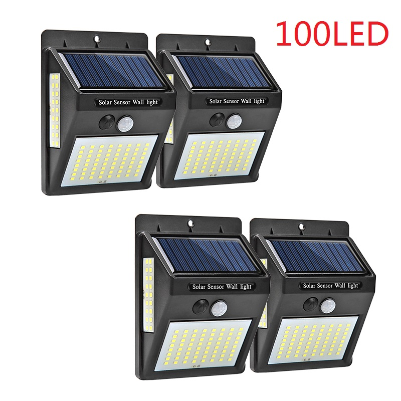 4pcs 100 LED Solar Light Outdoor Solar Lamp PIR Motion Sensor Wall Light Waterproof Solar Powered Sunlight For Garden Decoration