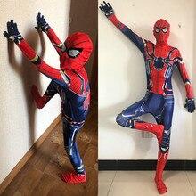 24 часа корабль Дети Мальчики Железный костюм Человека-паука Хэллоуин День рождения костюм Человек-паук удивительный 3D Взрослый зентай комбинезон