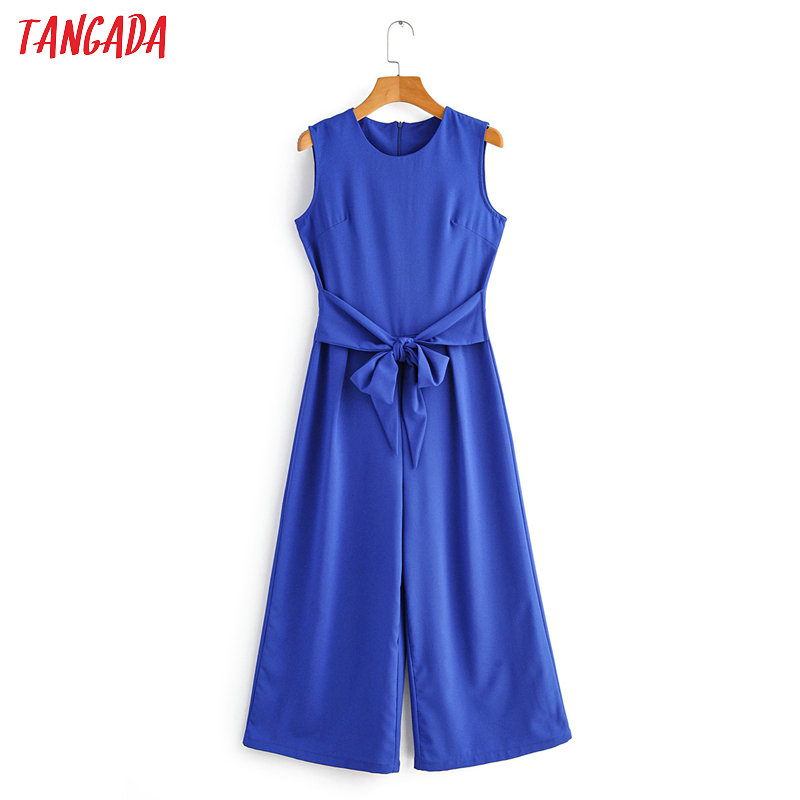 Tangada Women Summer Blue Long Jumpsuit Solid Sleeveless With Bow Back Zipper O Neck Female Casual Jumpsuit 1F87
