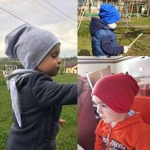 Модные милые однотонные вязаные хлопковые шапки для новорожденных