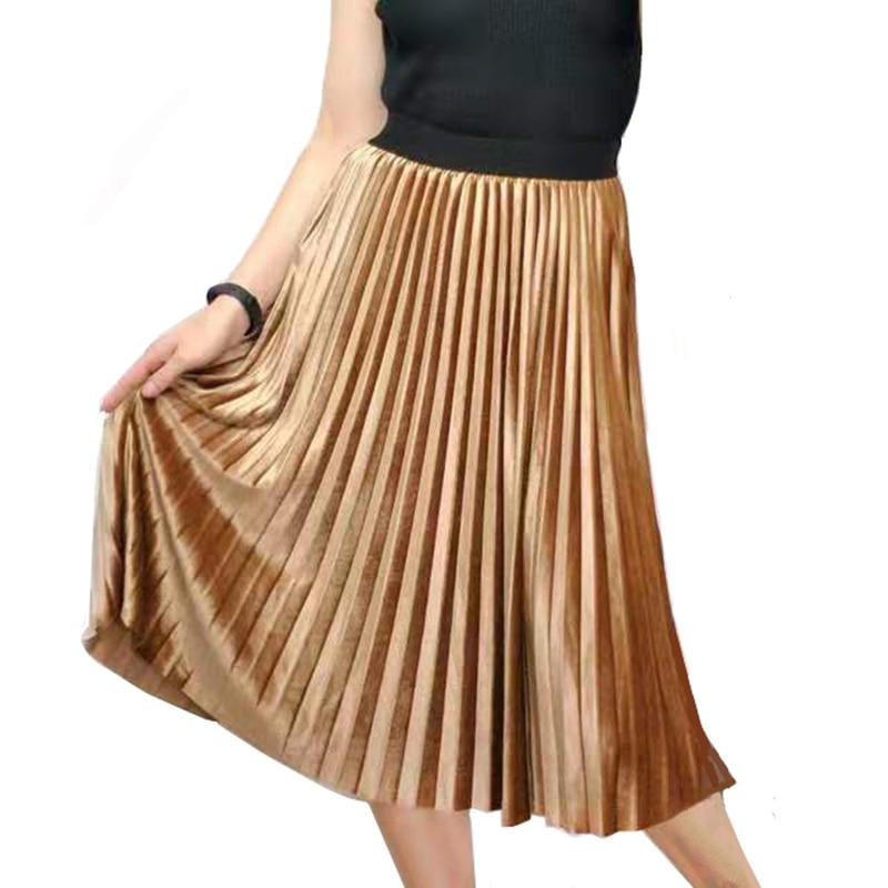New Spring Autumn Women Long Metallic Skinny Female Maxi Pleated Skirt Midi Skirt High Waist Elascity Party Women Skirt Vintage