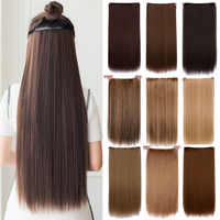 """24"""" Long Straight High Temperature Fiber Synthetic Clip in Hair Extensions for Women AOSIWIG"""