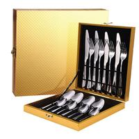 16PCS Cutlery Dinner Set With Wood Box Cutlery Set Knives Forks Spoons Western Kitchen Dinnerware Stainless Steel Tableware Home