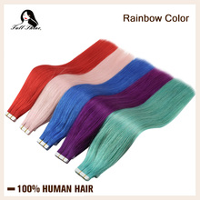 Cinta de brillo total para extensiones de cabello humano, colorida extensión de cabello sin costuras, con pegamento de colores del arco iris, 50 gramos de cinta en la máquina de cabello remy