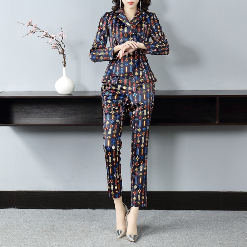 New Women Colorful Printed Suits Two Piece Pants Blazer Set Slim Fit Ankle Length Office Ladies Work Costume Femme Outfits Suit