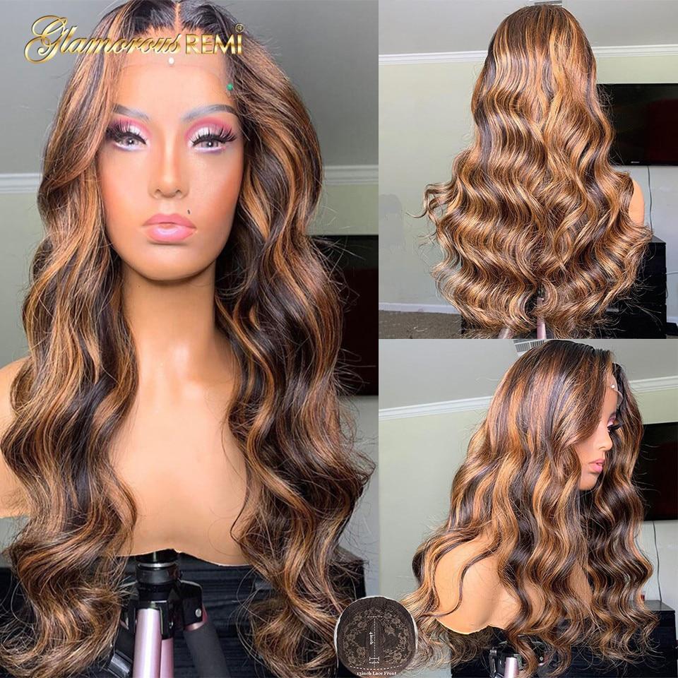 Perucas brasileiras do cabelo humano da onda do corpo com o cabelo do bebê t parte perucas do laço mel loira destaque perucas remy densidade do cabelo 150 para a mulher