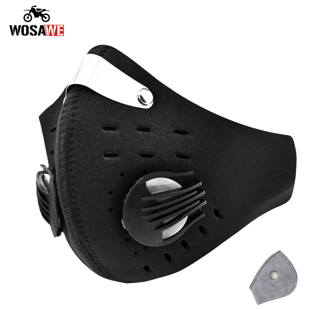 WOSAWE Protective Mask PM2.5 Anti-Pollution Mask Filter Motorcycle Mask With Filter Bicycle MTB Breathable Face Mask Face shield