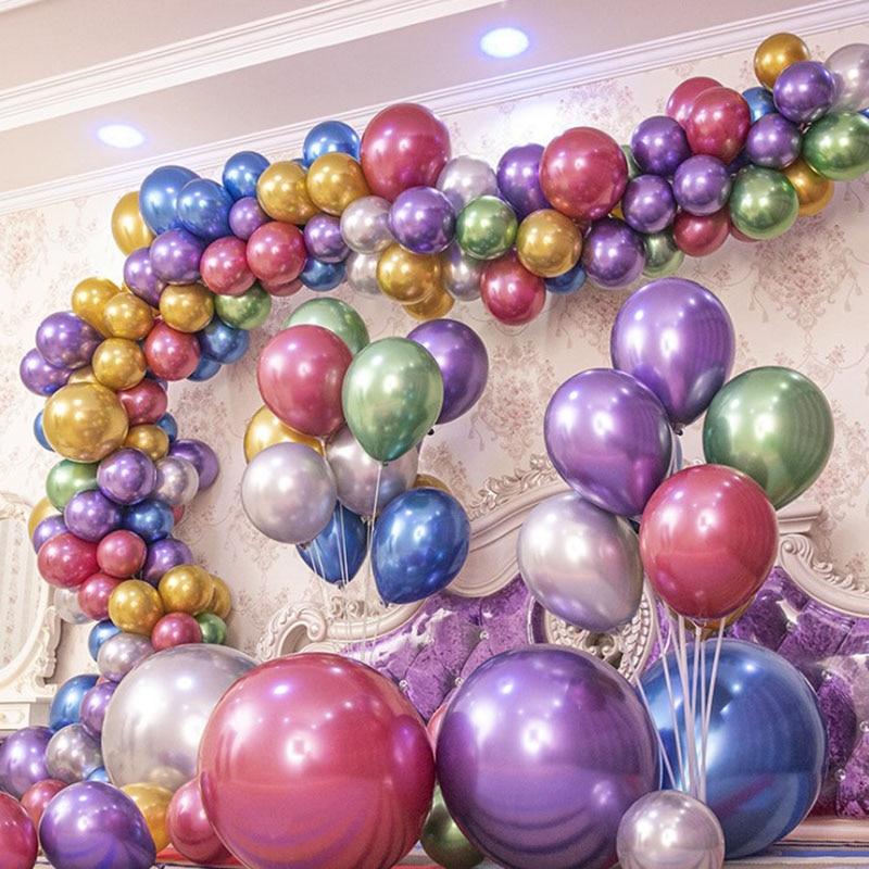 5 Cal 10 Cal Metallic Nalloons ślubne dekoracje na przyjęcie urodzinowe balony lateksowe balony Anniversaire Dec Metal zestaw balonów