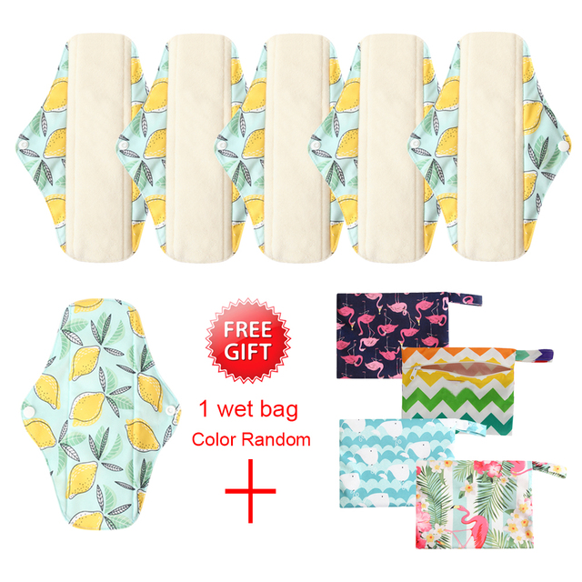 Ohbabyka 6pcs Waterproof Cloth Sanitary Pads Women Reusable Panty Liner with 1 Wet Bag Sanitary Pads with Organic Bamboo Inner