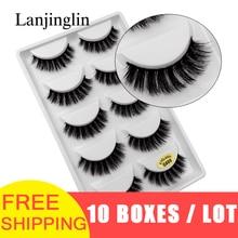 LANJINGLIN 50 pairs/lot natural long mink eyelashes faux cils soft volume 3d lashes hand made false eyelashes wholesale G600