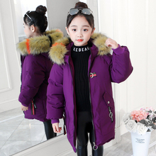 Winter Coat Girl Parka Cotton-Padded Outerwear Coats 2019 Fashion Down Jacket For Girls Warm Clothes Multicolour Fur Collar цены онлайн