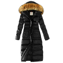 Winter Coat New Women Hooded Faux Fur Large Fur Collar Slim Fit Straight Hem Cotton Coat Outdoor Warm Windproof Solid Jacket D20 contrast faux fur collar double layered hem coat
