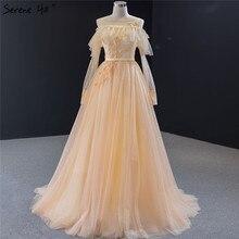 Champagne Hoa Thủ Công Chữ A Váy Đầm Dạ 2020 Tay Dài Gợi Cảm Chính Thức Bầu Thanh Thoát Đồi HM66996