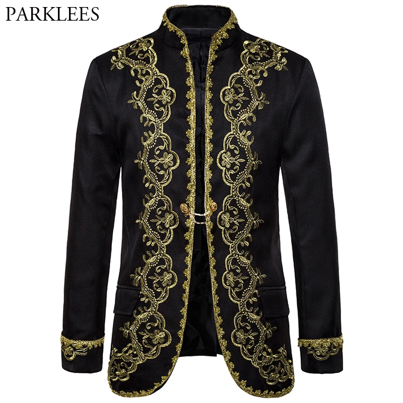 Baroque Palace Costume Men Blazer Gold Embroidery Blazer Mens  Black Blazers Stage Performance Men Suit Jacket Blazer Masculino