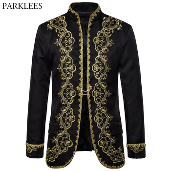 цена Baroque Palace Costume Men Blazer Gold Embroidery Blazer Mens  Black Blazers Stage Performance Men Suit Jacket Blazer Masculino онлайн в 2017 году