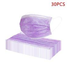 30 pçs máscaras roxas unisex à prova de poeira multi camada mondkapjes proteger rosto boca capa respirável máscaras mascarillas novo barato
