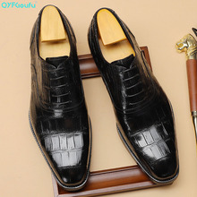 QYFCIOUFU Genuine Cow Leather Black Wine Men Goodyear Oxfords Shoes Wedding Dress Shoes For Male Lace Up Oxfords Formal Shoes