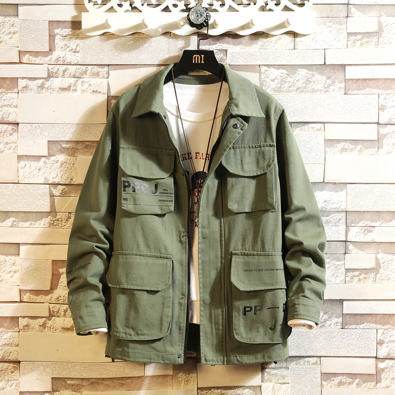 Dropshipping Men Japanese Streetwear Multi-Pocket Cargo Jacket 2020 Autumn Mens  Cotton Jacket Casual Overalls Male Jacket