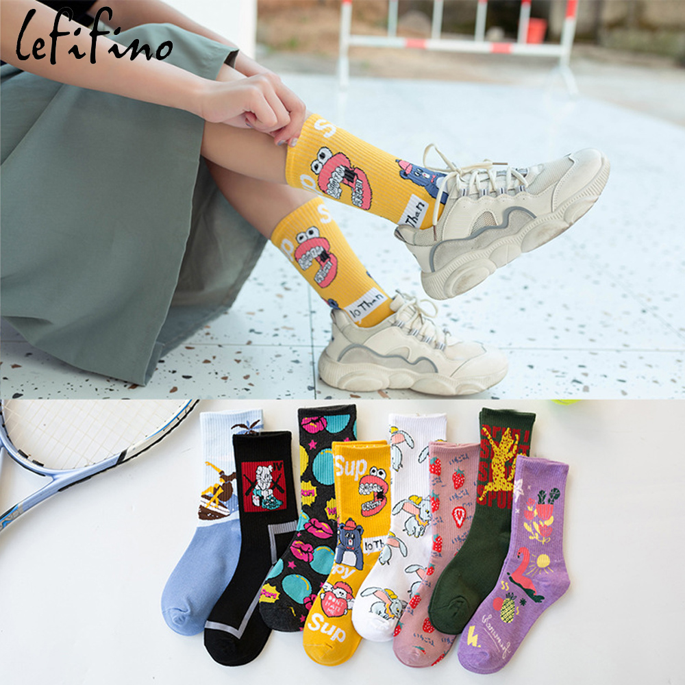 Fashion Women Socks Cartoon Elephant Flamingo Strawberry Lips Unique Funny Design Happy Socks Winter Street Trend Skateboard Sox