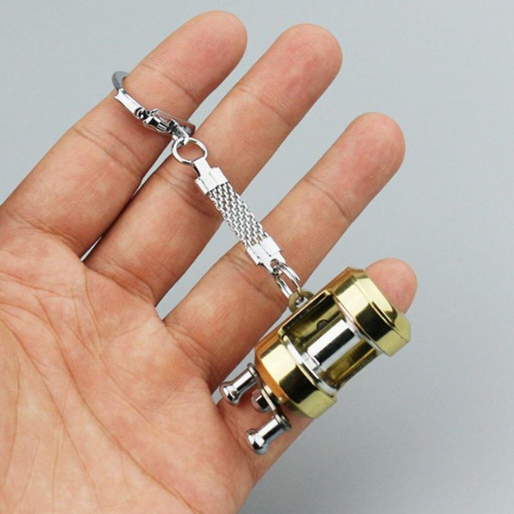 Aluminum Alloy Mini Baitcasting Reel Fishing Reel Key Ring Pendant Keychain