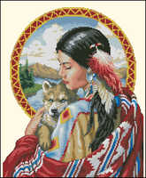 Higher quality cotton threads  counted cross stitch kit Guardian Spirit dimensions 00319 woman lady and dog wolf