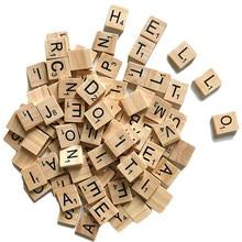 Giocattoli educativi per bambini 100 pezzi Set di lettere in legno inglese parola Scrapbooking numero di scarabeo blocchi di lettere di piastrelle di alfabeto