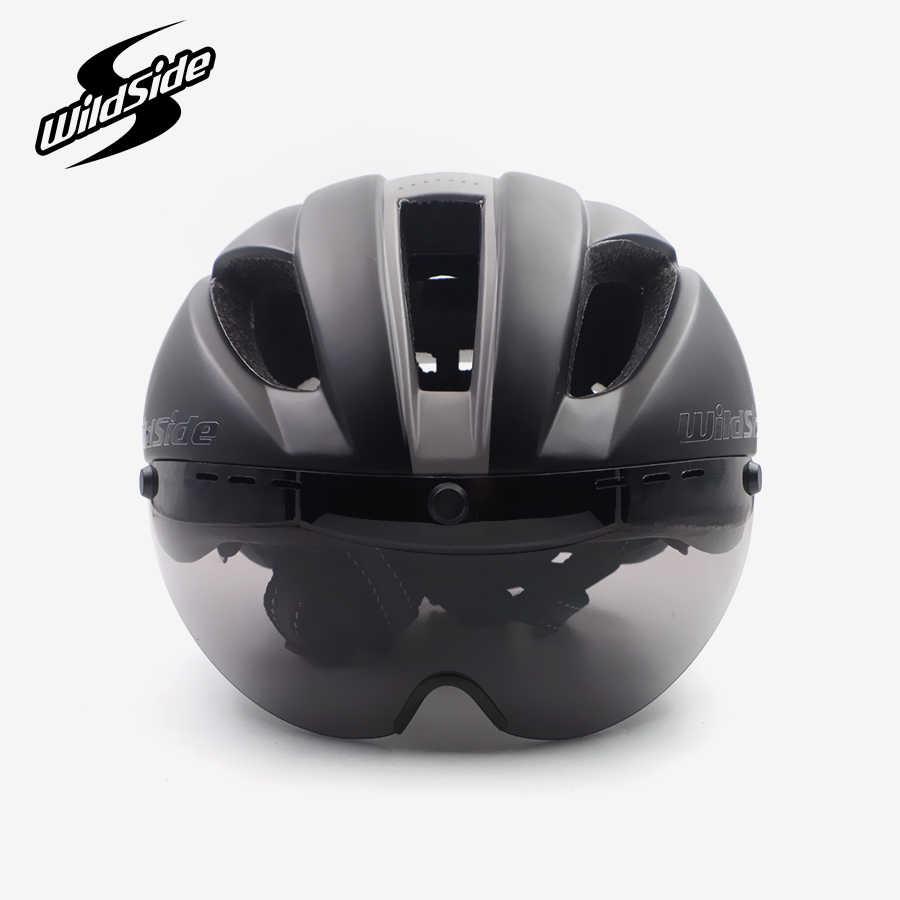 Aero קסדת tt זמן משפט רכיבה על קסדת עבור גברים נשים משקפי מירוץ כביש אופני קסדה עם עדשה Casco Ciclismo אופניים ציוד