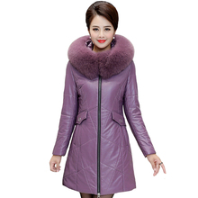 Plus Size 7XL 8XL Winter Pu Leather Jacket Women Parkas with Fur Collar Thick Warm Long Coat Women Down Jacket Hooded Outerwear qihuang 2019 winter hooded fur collar down coat women long jacket thick plus size female winter coat thicken warm parkas
